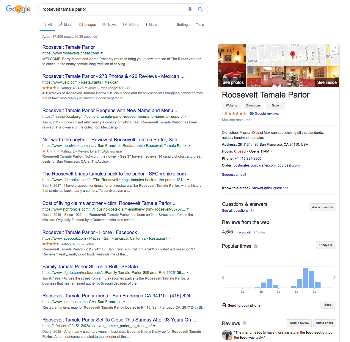 Google My Business listing and knowledge graph