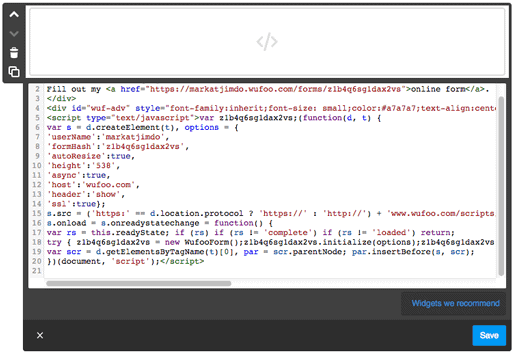 Paste the HTML code into a Widget/HTML Element on your website.