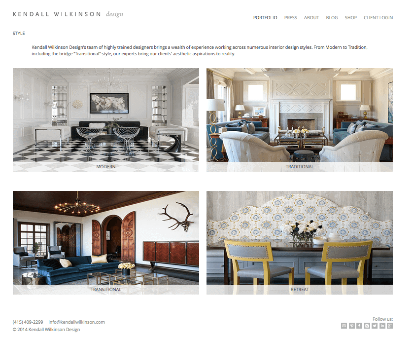 Kendall Wilkinson Interior Design Website Inspiration