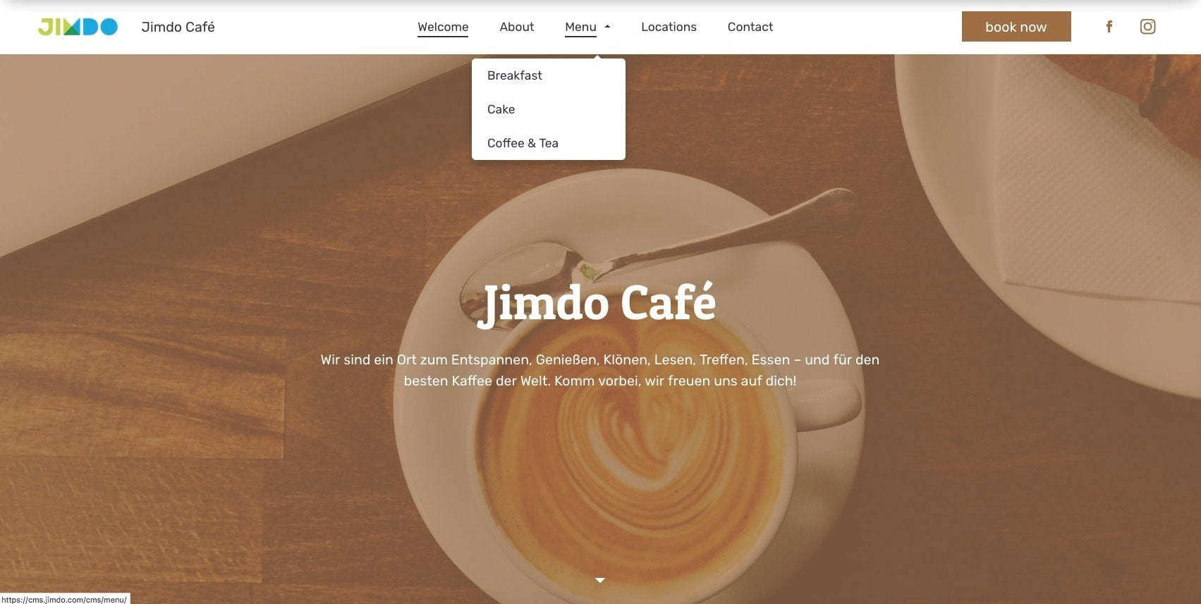 An example of adding more pages with a dropdown navigation menu on a Jimdo website.