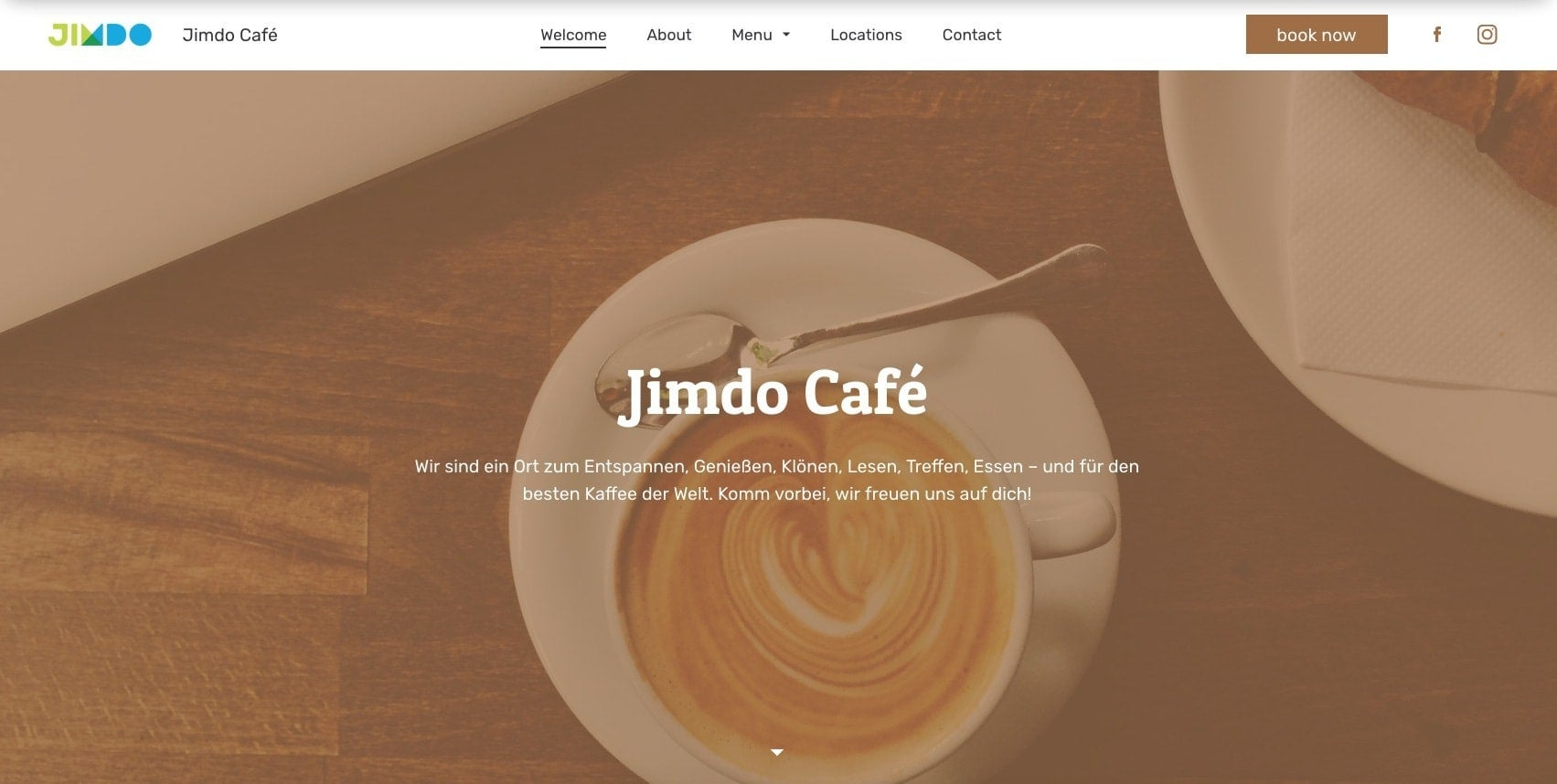 An example of a shorter, clearer website navigation menu on a Jimdo website.