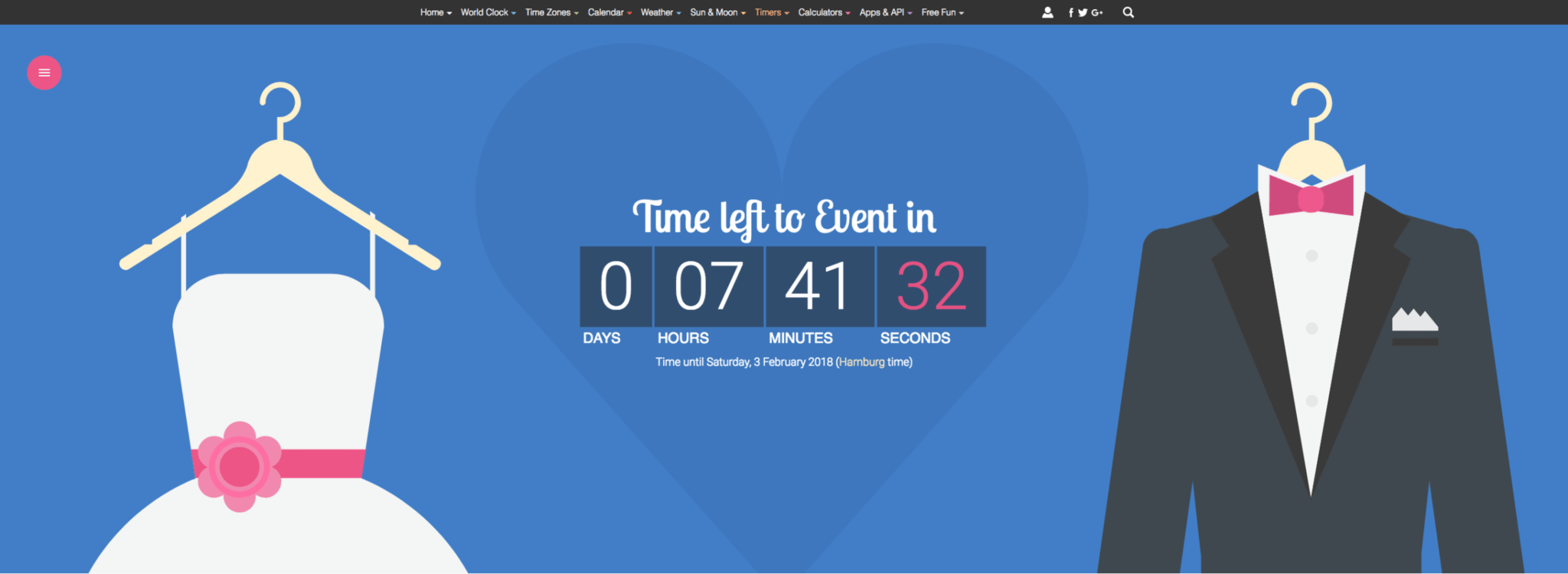 Here's an example of a countdown widget that you can add to a wedding website