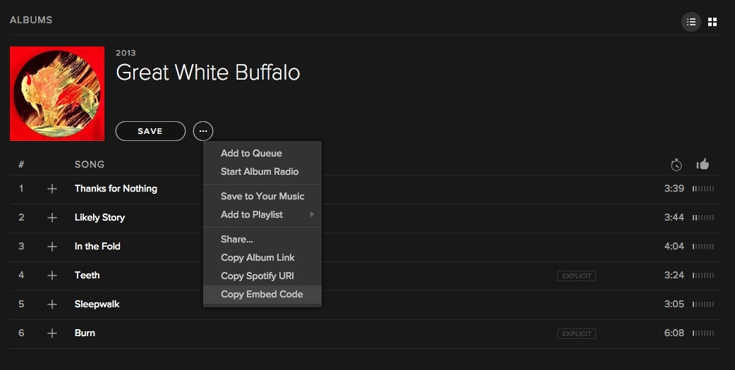 How to grab the code to embed a Spotify playlist