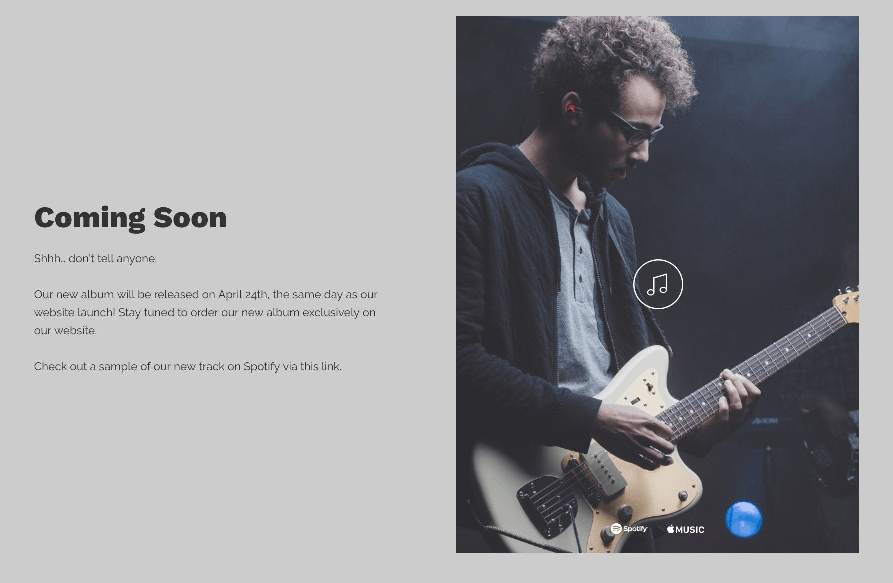 Under construction page musician