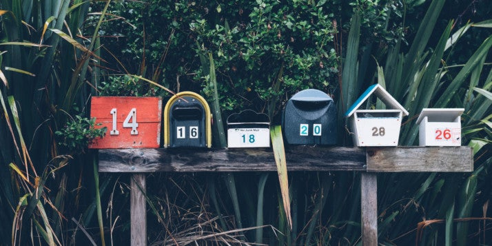 A row of letterboxes