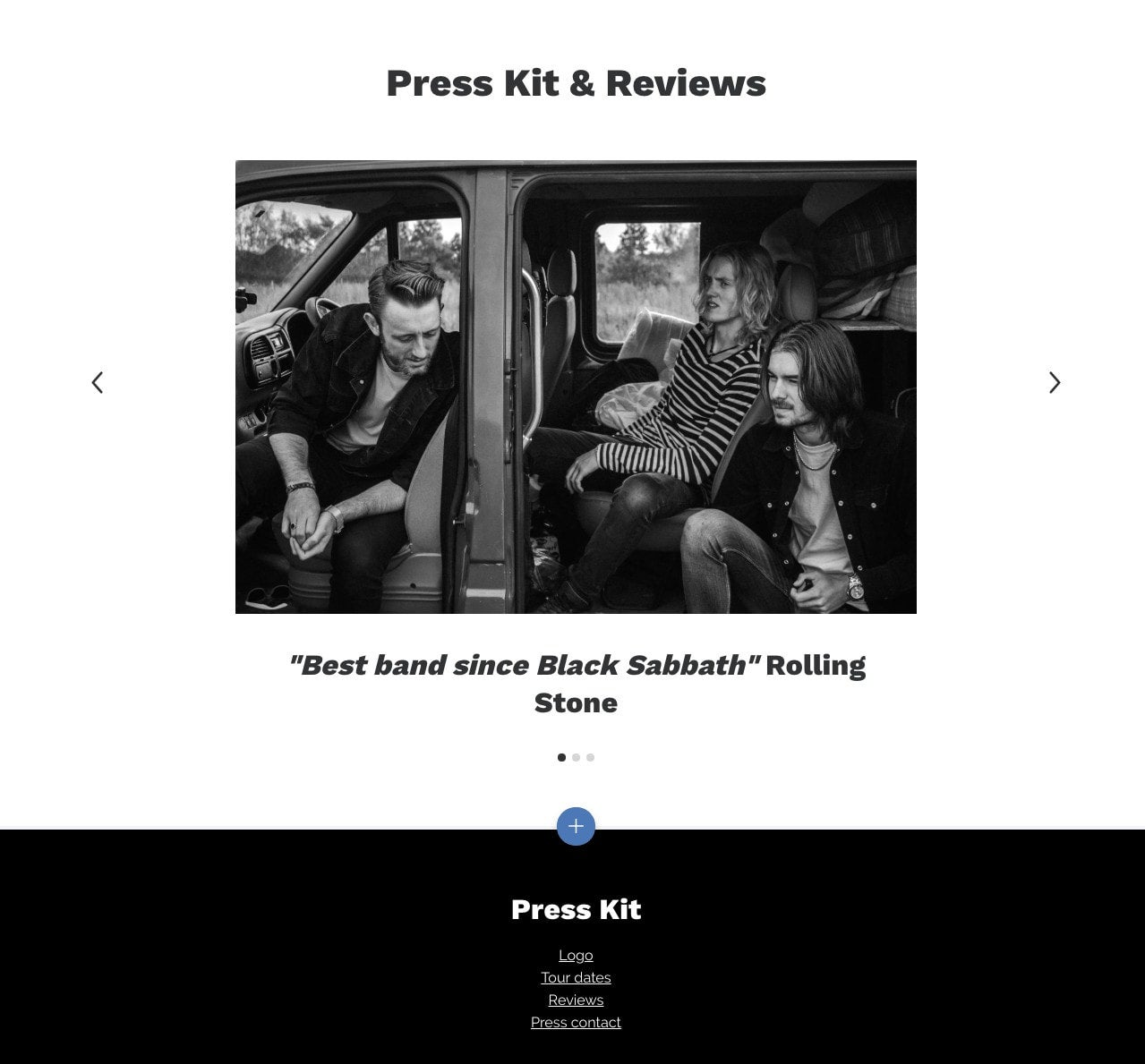 Press kit page example of musician website