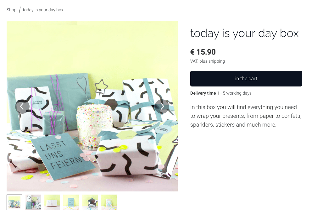 A screenshot from the online shop Happy to Give showing multiple product photos that help reduce ecommerce returns.