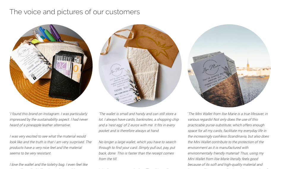 A screenshot from online store Ilse Marie that shows real product reviews to reduce returns