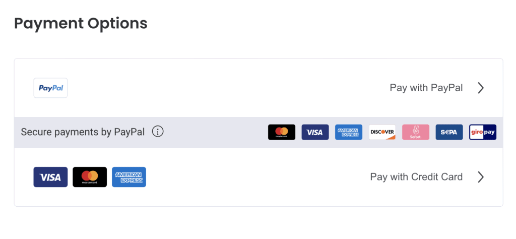 Payment methods shown with PayPal.