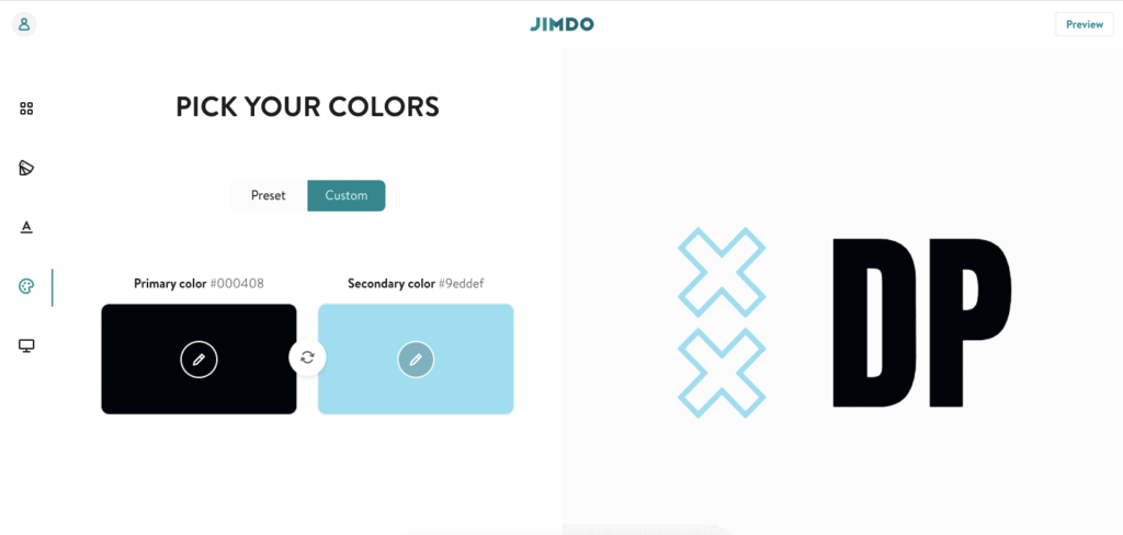 A screenshot from the Jimdo Logo Creator showing how to use a specific hex color code.
