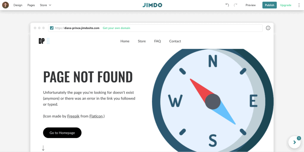 An example of using a free website icon on a Jimdo website to add to your design.
