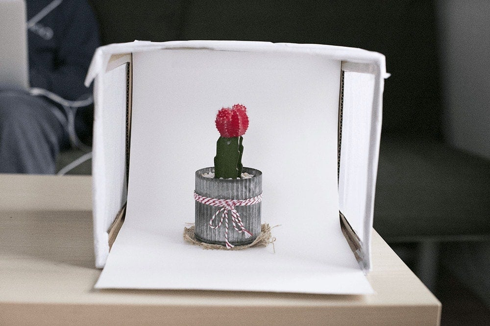 An example of a product in a small photo light box that you can make yourself.