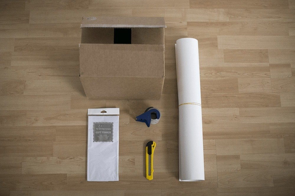 The supplies for a DIY photography light box