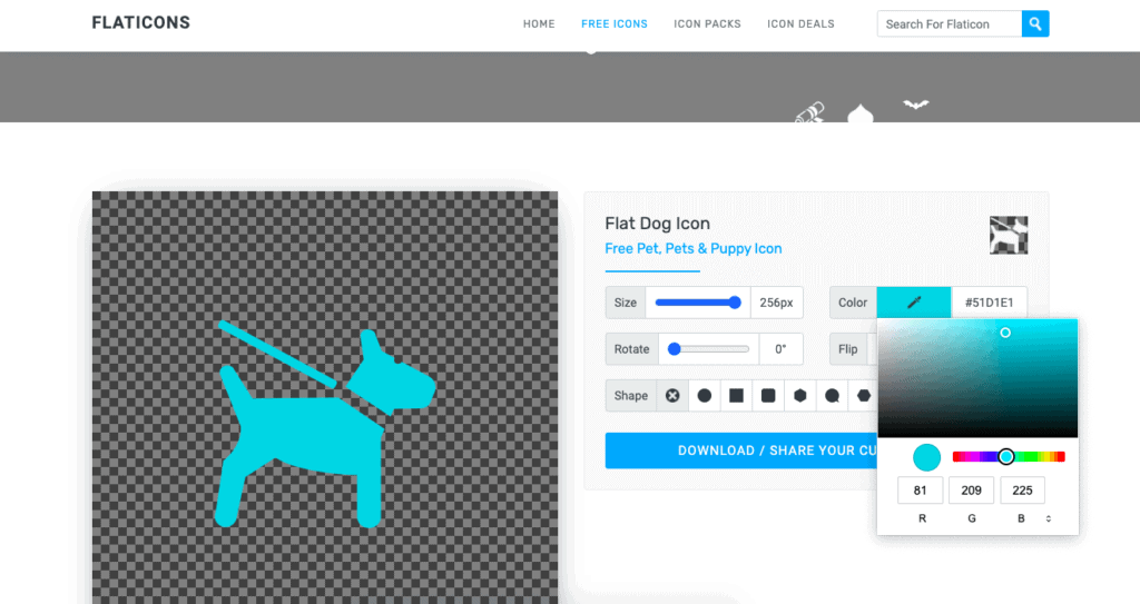 On many free icon websites, you can adjust the size, color, and style of the icon before downloading it. This example is from Flaticons.net
