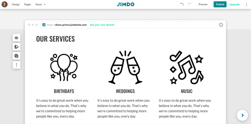 An example of icons on a Jimdo website