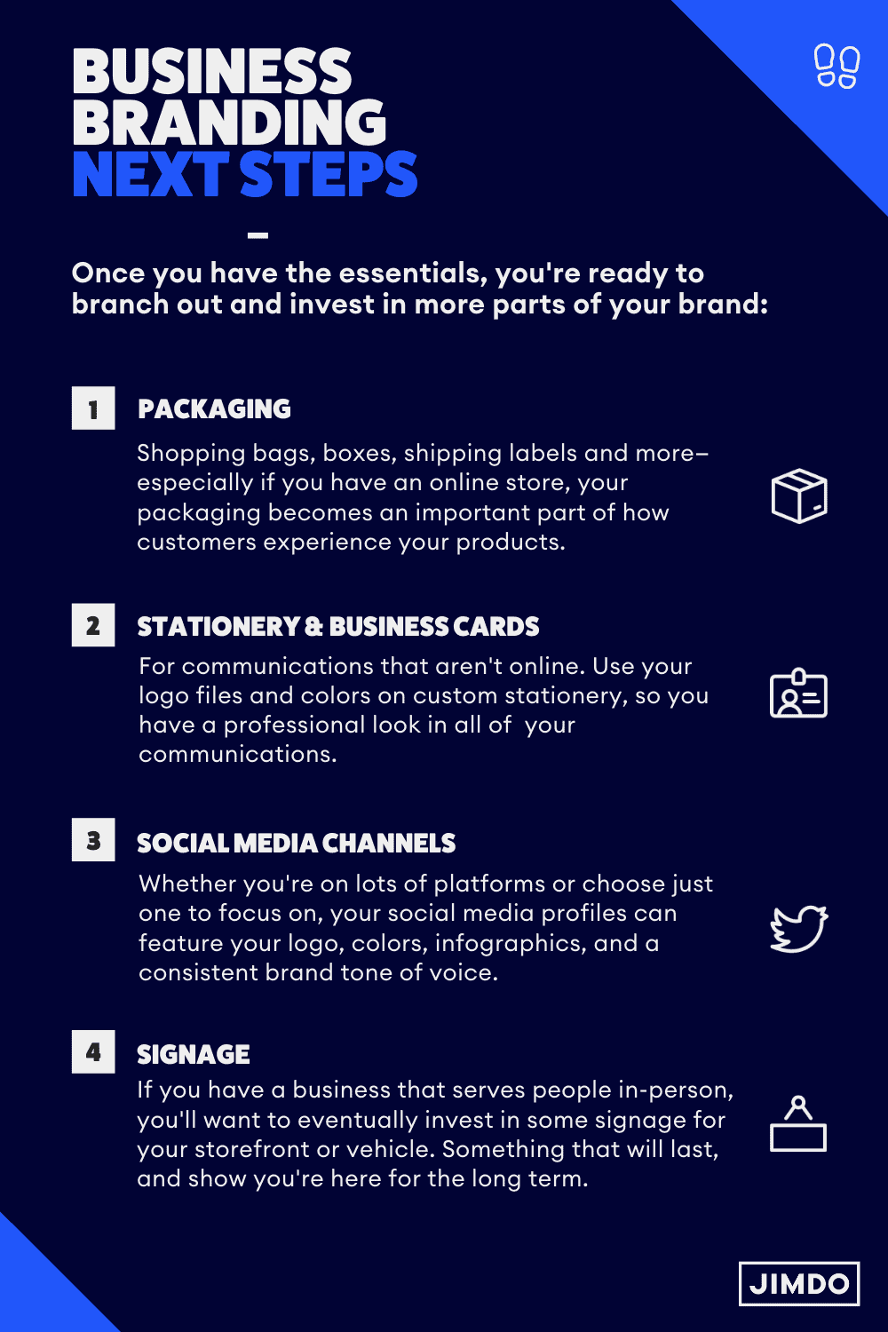 Once you have the essentials, you're ready to branch out and invest in more parts of your brand.