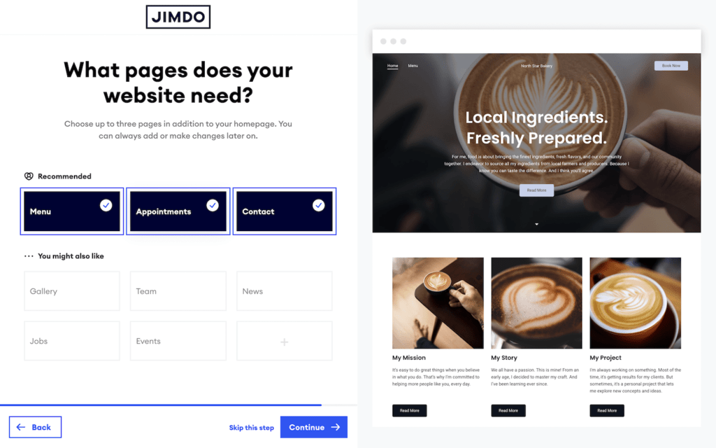 An example of choosing website pages from Jimdo.