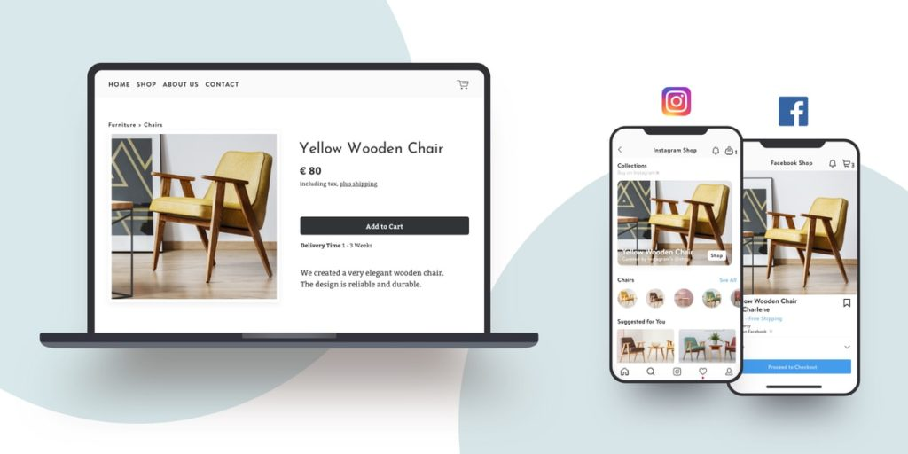 An online shop built with Jimdo shown on Facebook and Instagram.