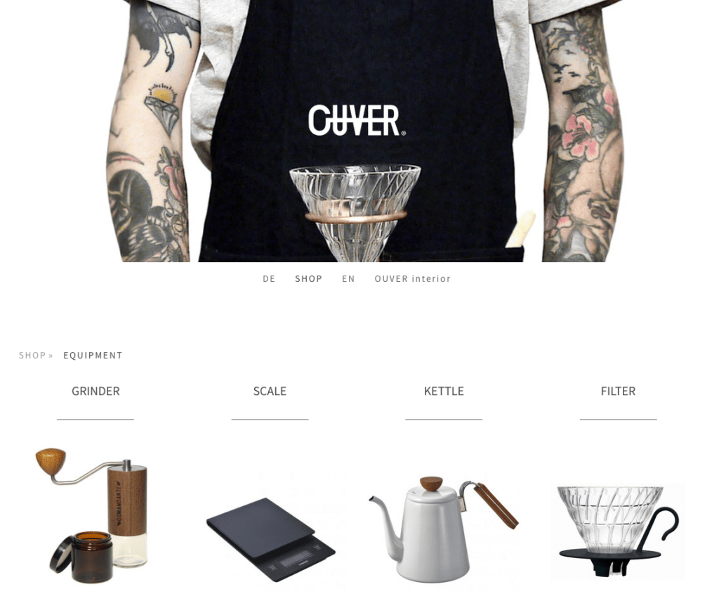 Website OUVER COFFEE